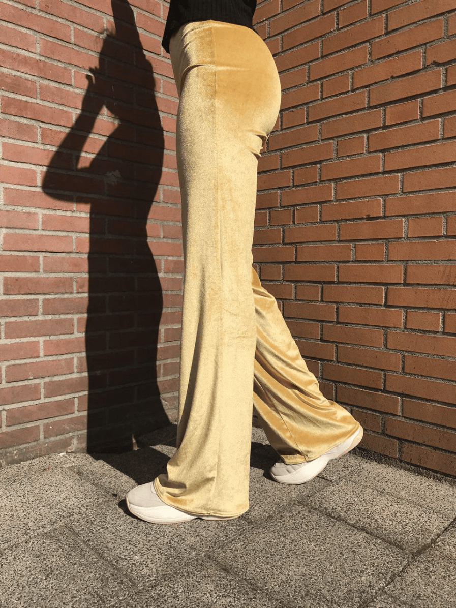 Velvet-flare-pants---Gold---Side