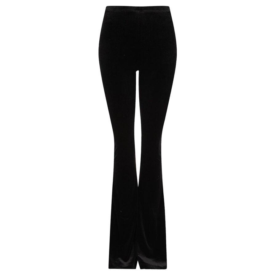 Velvet flared pants zwart black - productfoto
