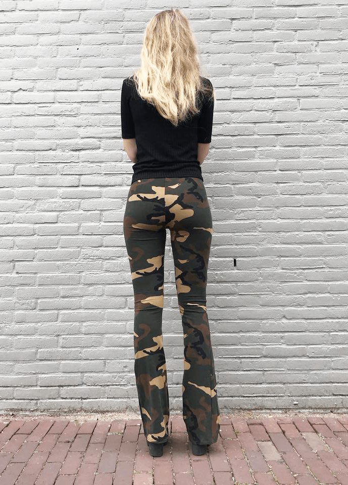 Camouflage-broek-dames---flared-pants