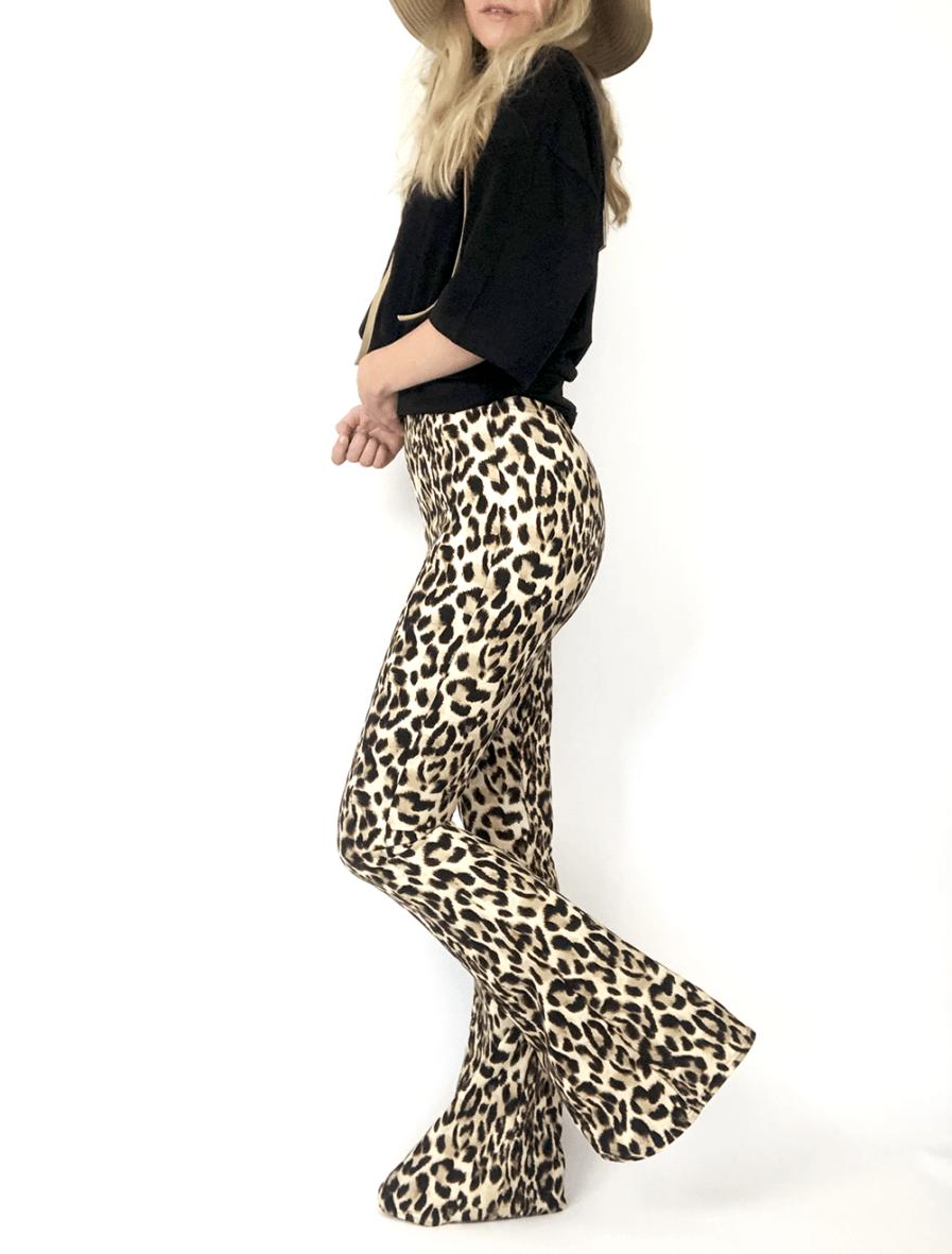 Flared pants - leopard print - zijkant