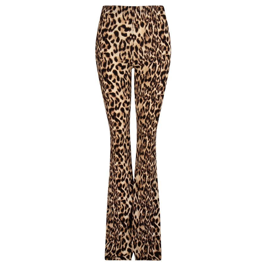 Soft flared pants - leopard print - voorkant