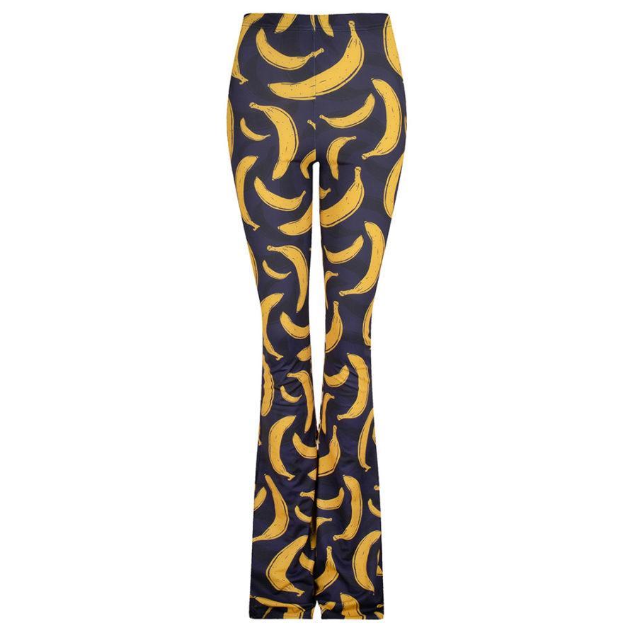 Flared pants banana print