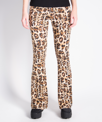 Soft flared pants - leopard print - voorkant