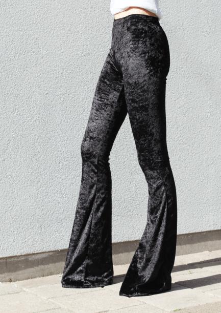 Velvet flared pants - black - zwart - FLRD