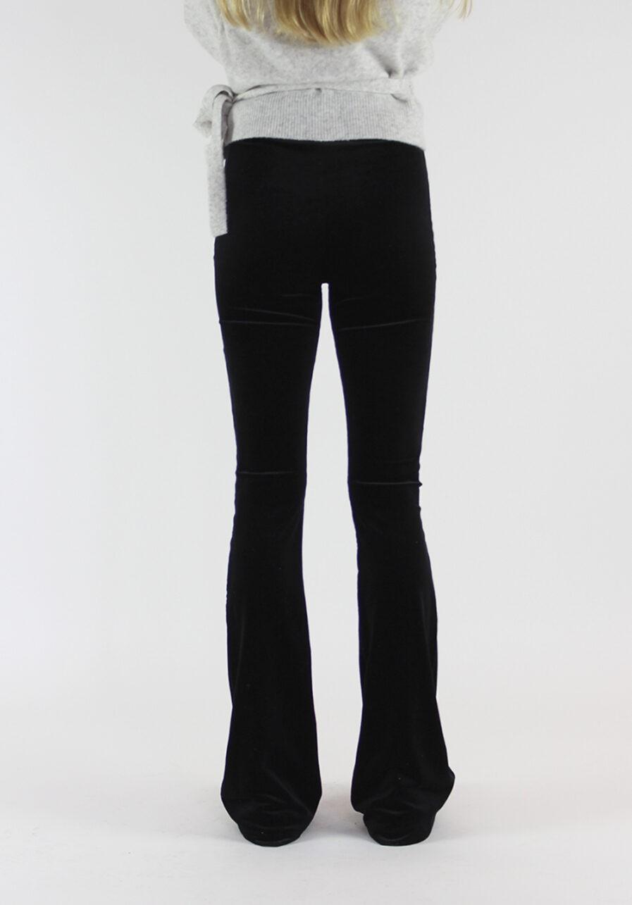 Velvet flared pants zwart black - achterkant