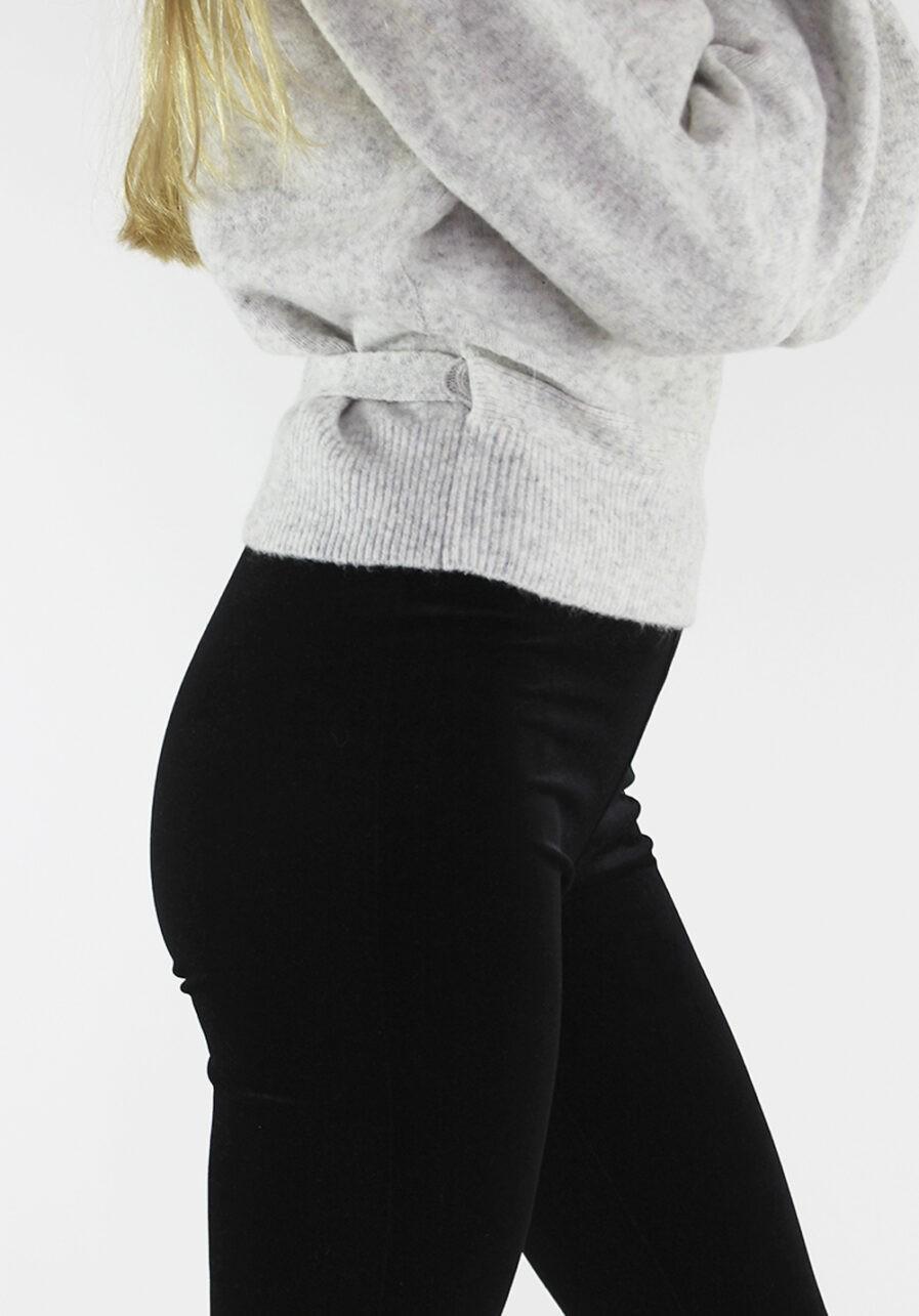 Velvet flared pants zwart black - close up