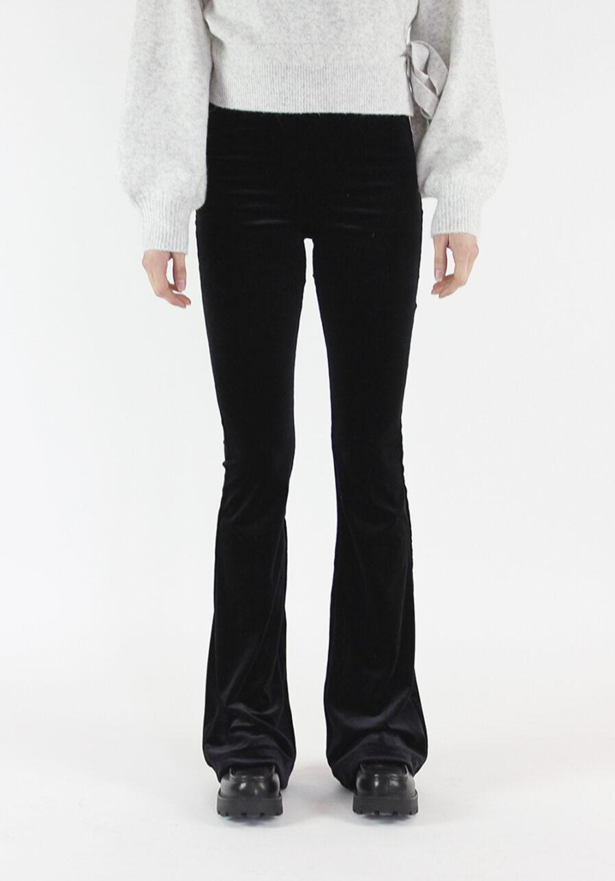 Velvet flared pants zwart black - voorkant