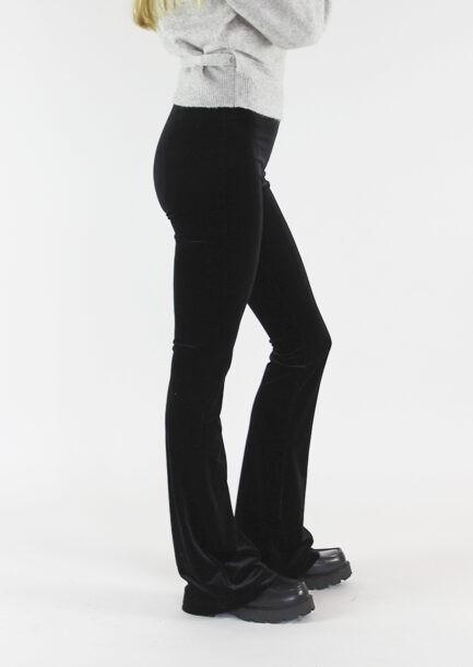 Velvet flared pants zwart black - zijkant