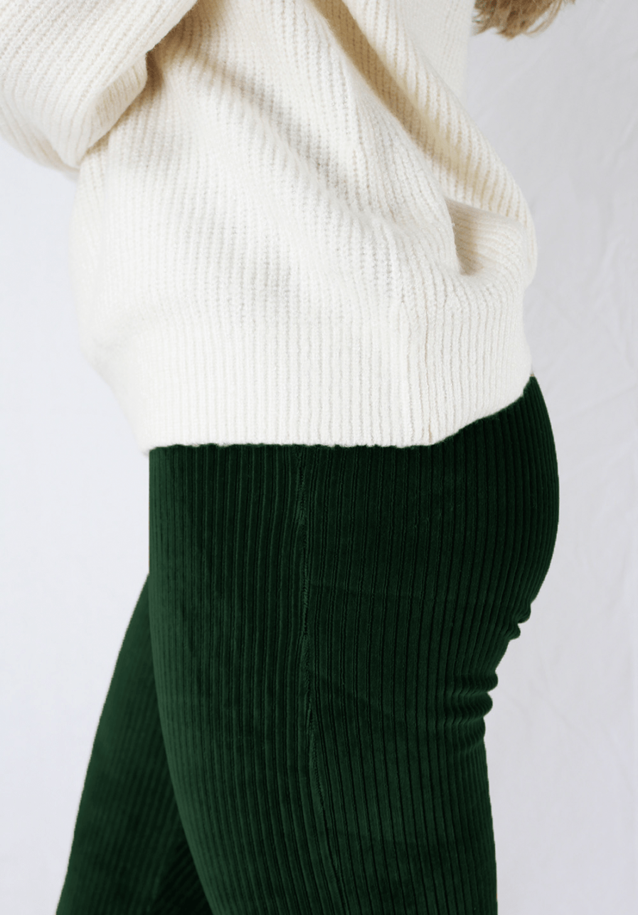Ribbed flared pants - groen - close up