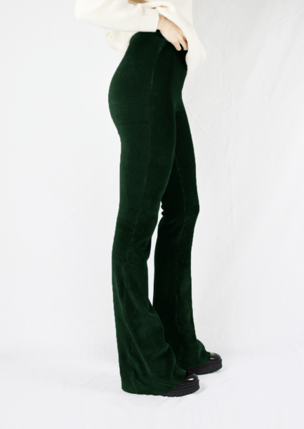 Ribbed flared pants - groen - zijkant