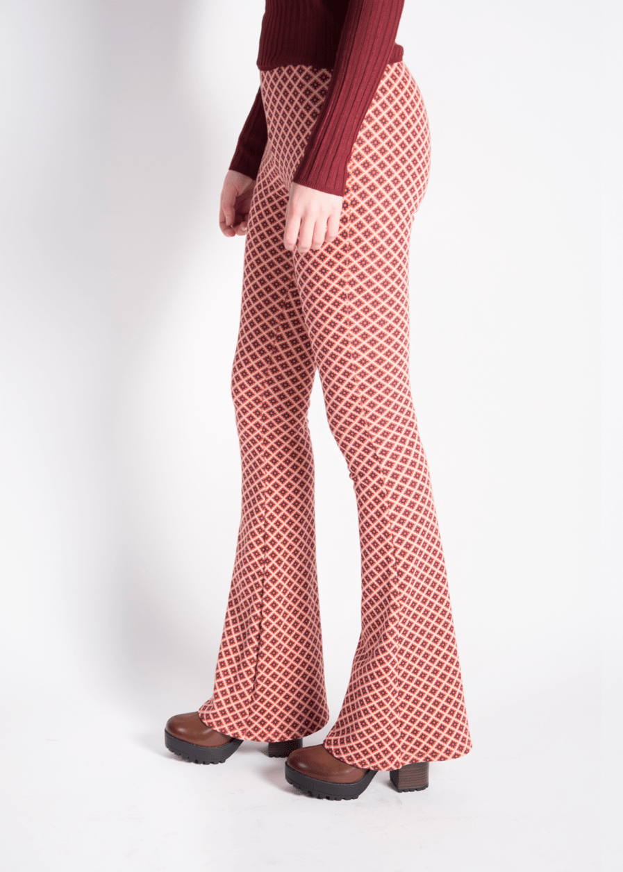 Flared pants - retro print - oranje/rood