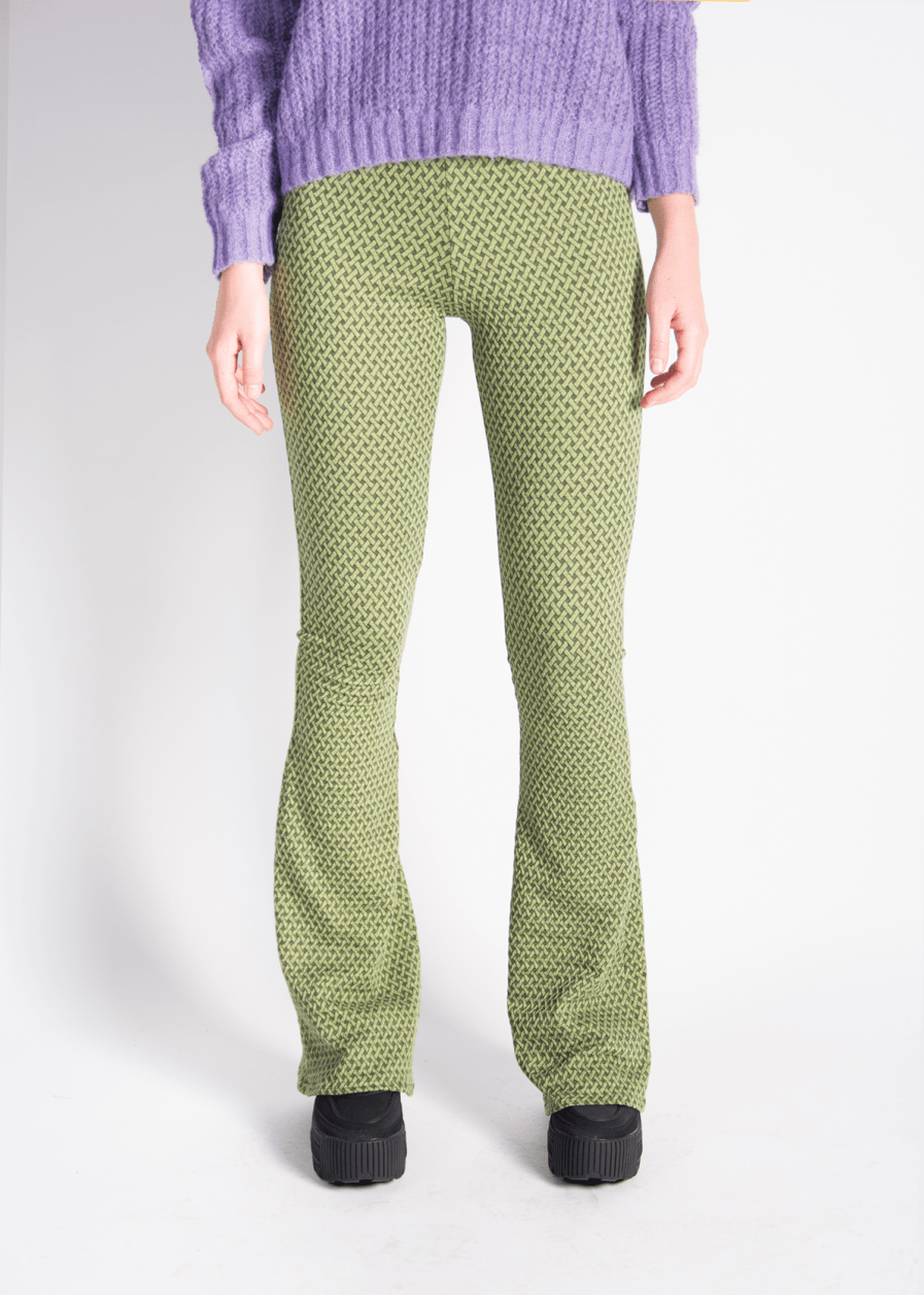 Flared pants - retro print - groen