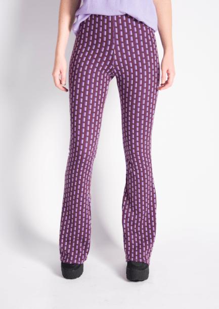 Flared pants met print - retro print - lila - paars - voorkant