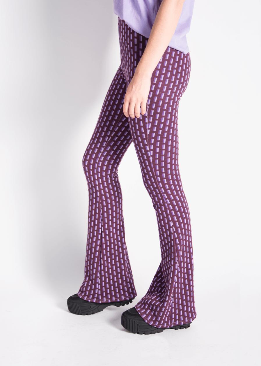 Flared pants met print - retro print - lila - paars - zijkant