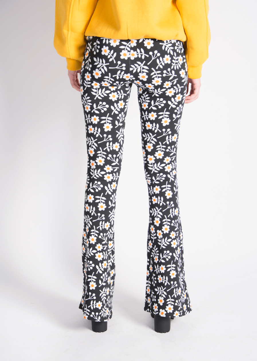 Flared pants - retro print - bloemen/flowers