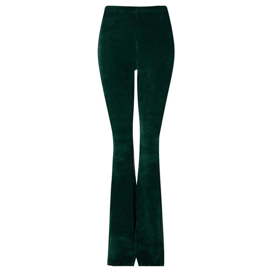 Rib flared pants groen corduroy