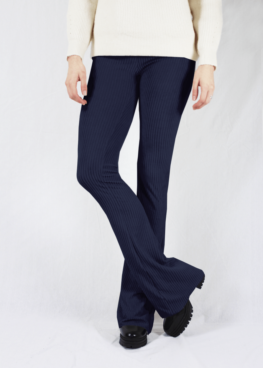Ribbed flared pants - donker blauw