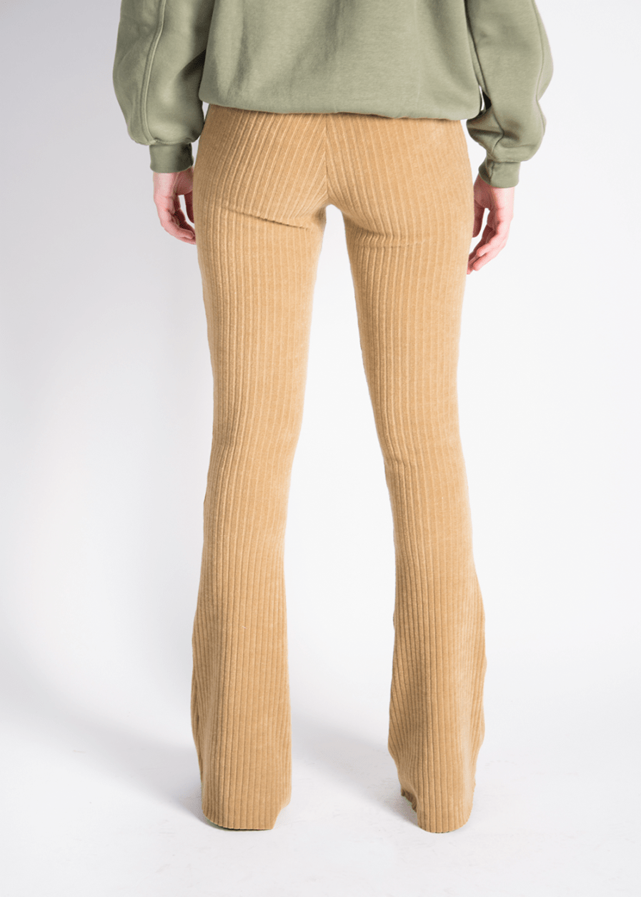 Ribbed flared pants - camel -achterkant