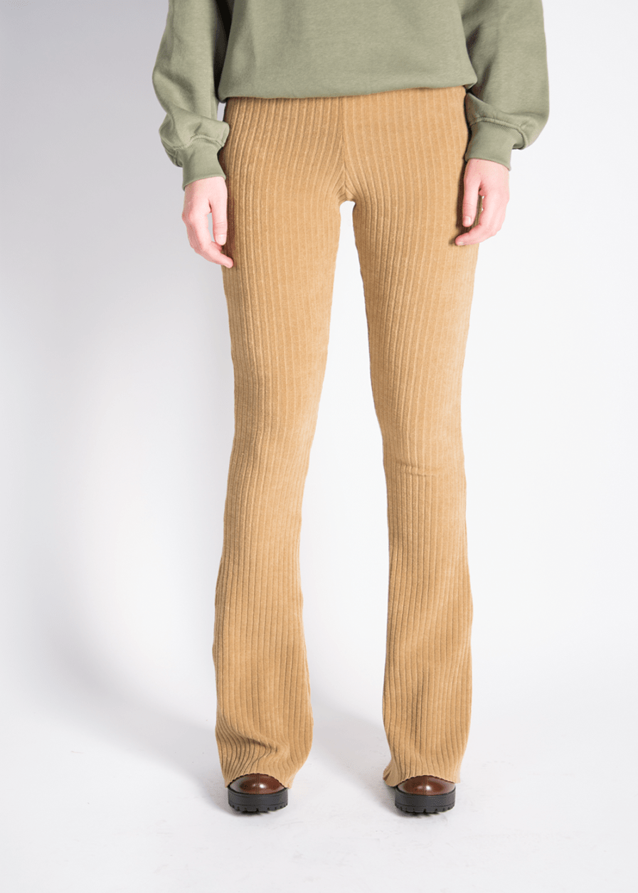 Ribbed flared pants - camel