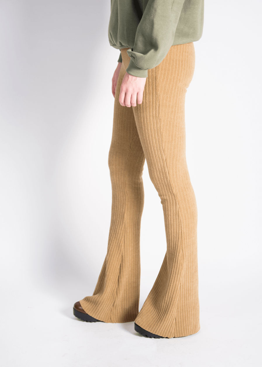 Ribbed flared pants - camel - zijkant