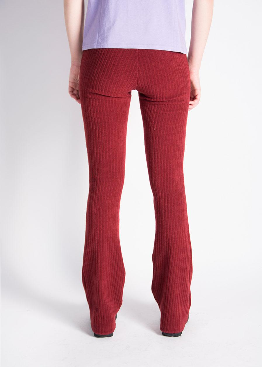 Ribbed flared pants - red - achterkant