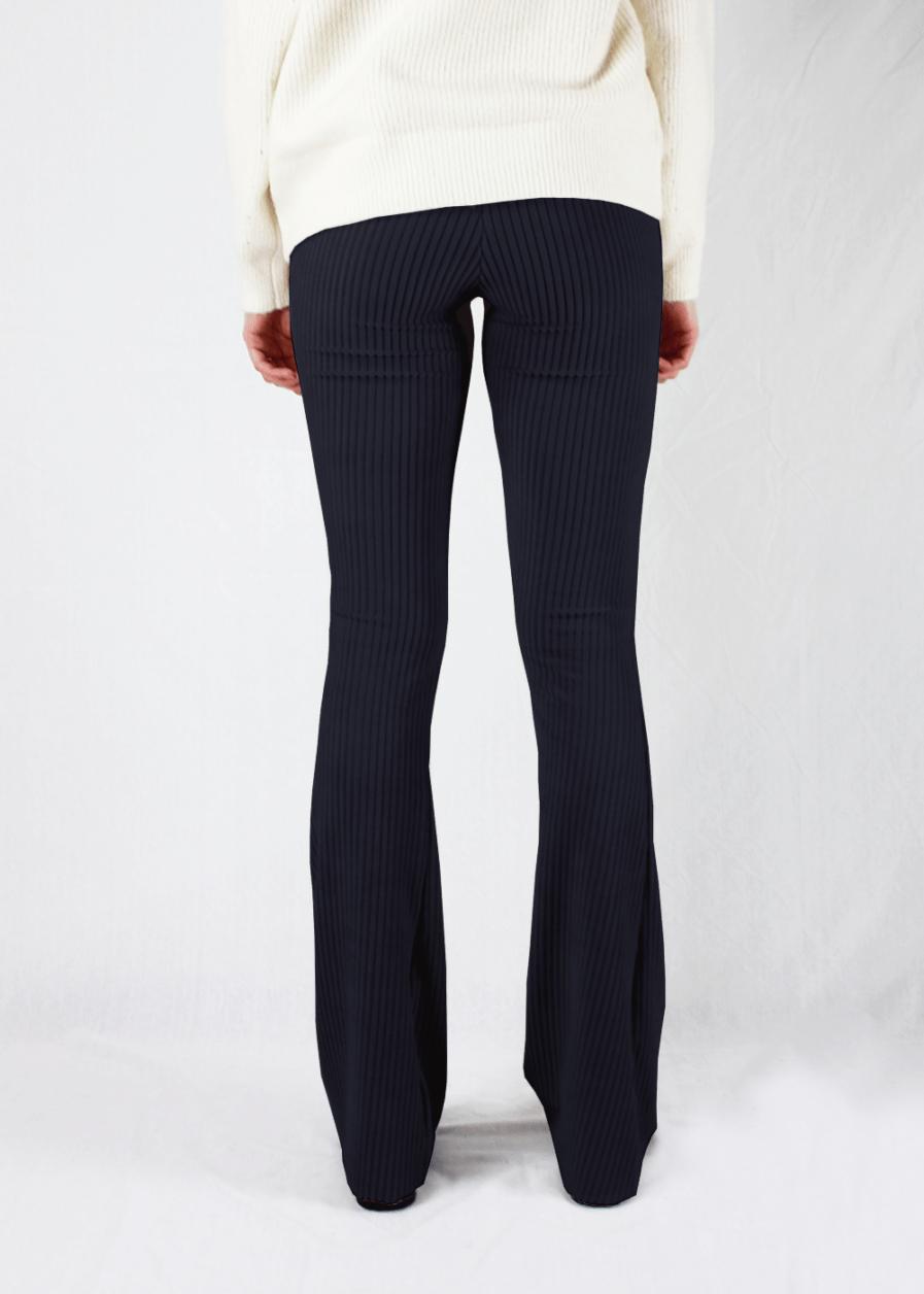 Ribbed flared pants - zwart/black