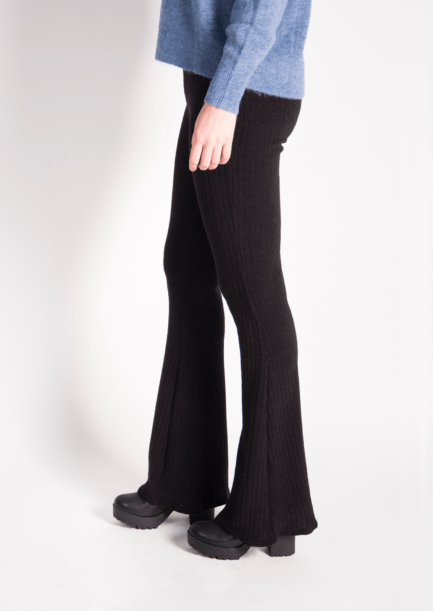 Ribbed flared pants - zwart/black
