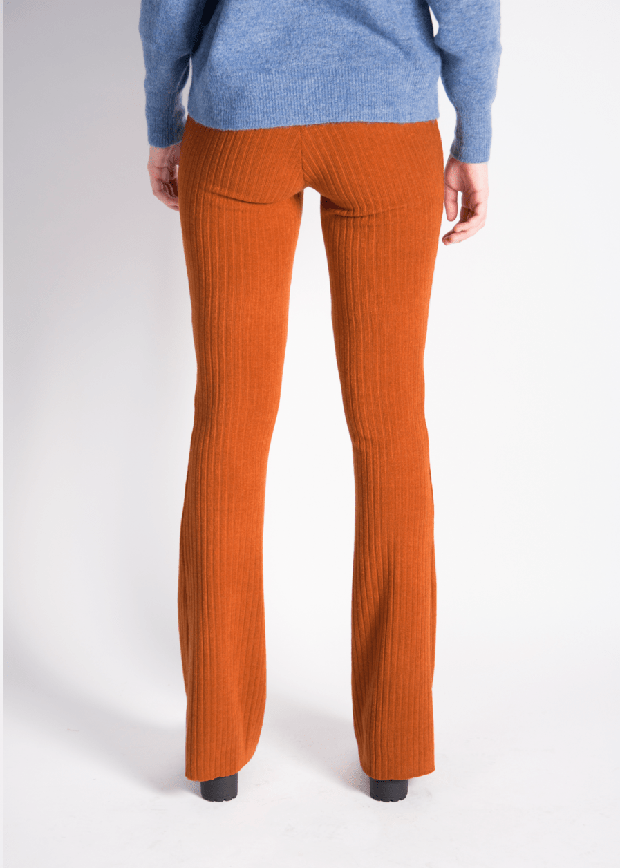 Ribbed flared pants - oranje - orange