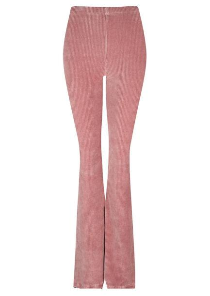 Rib flared pants roze corduroy