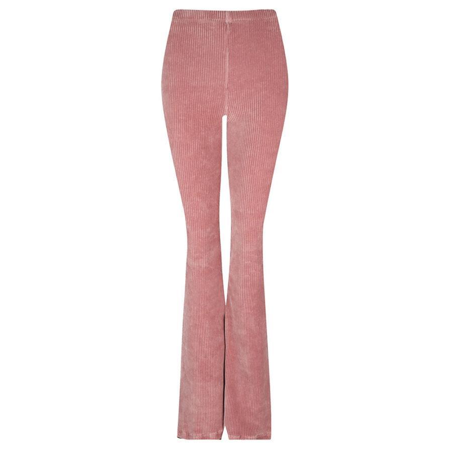 Rib flared pants roze corduroy