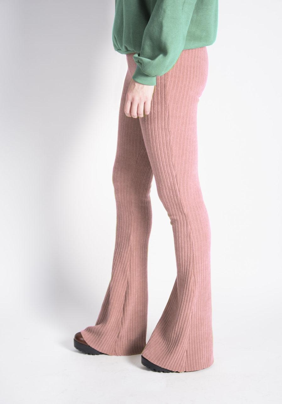 ribbed flared pants roze/pink
