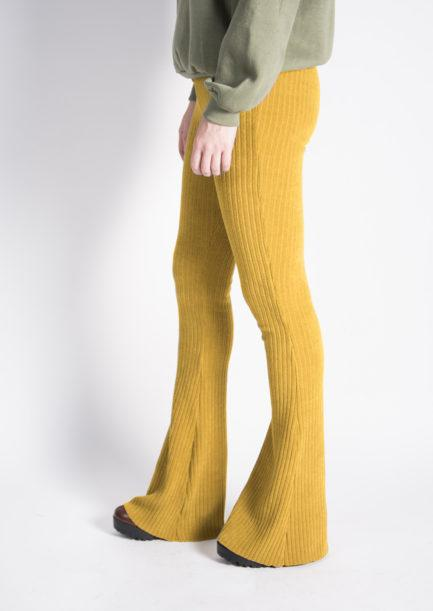 ribbed flared pants geel/yellow