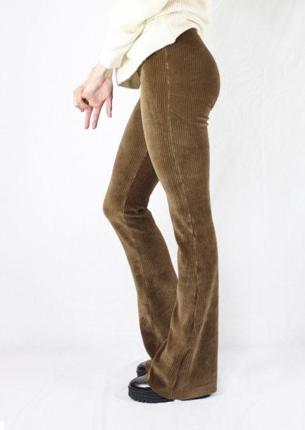 Ribbed flared pants bruin/brown - zijkant