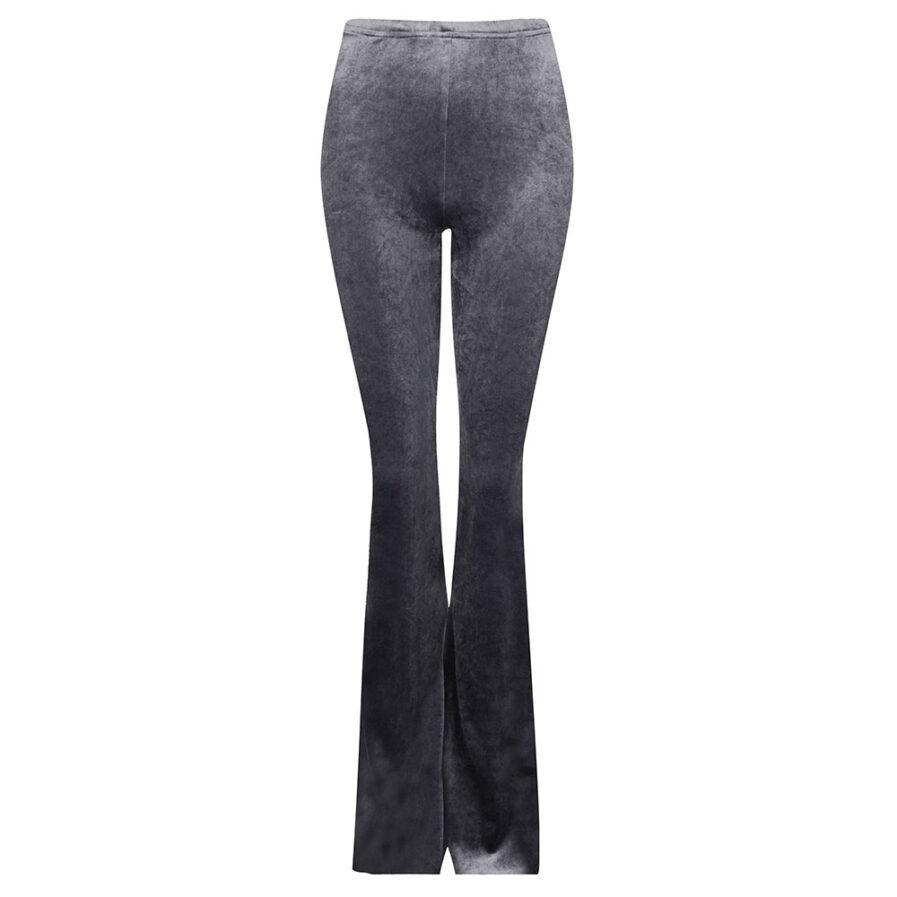 Velvet flared pants zilver grijs