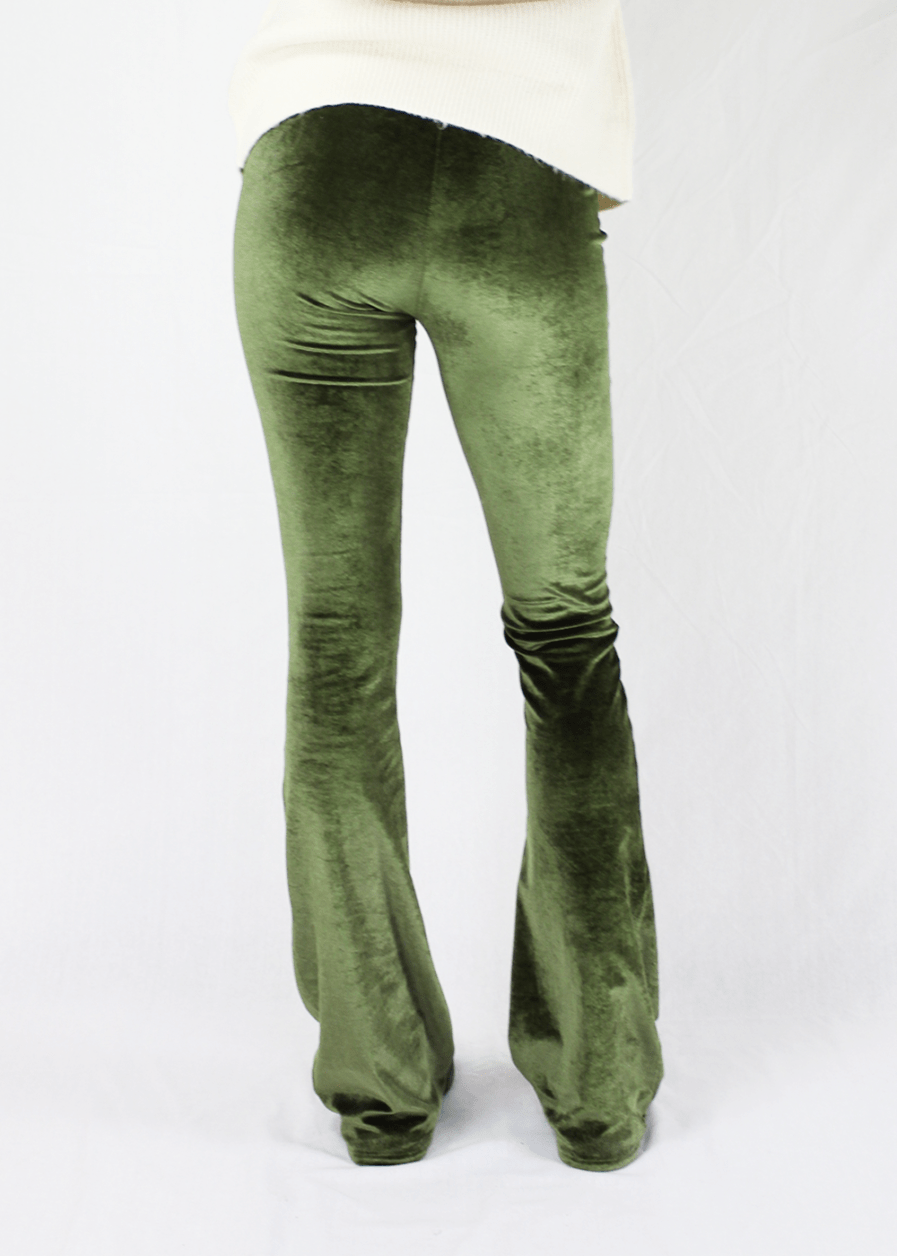 Velvet flared pants groen green – achterkant