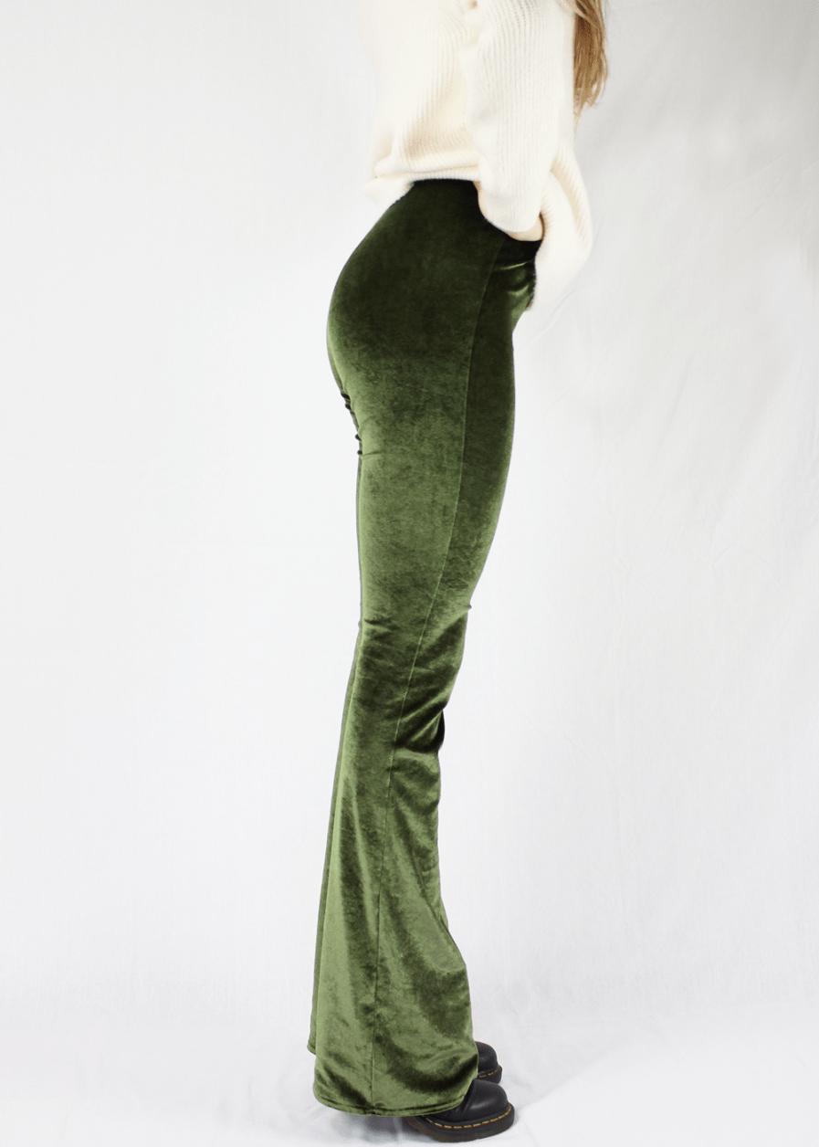Velvet flared pants groen green – zijkant 3