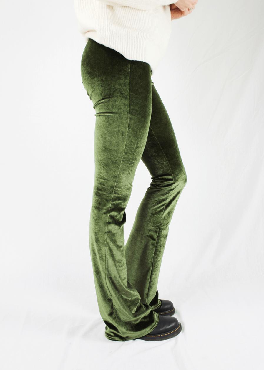 Velvet flared pants groen green – zijkant 2