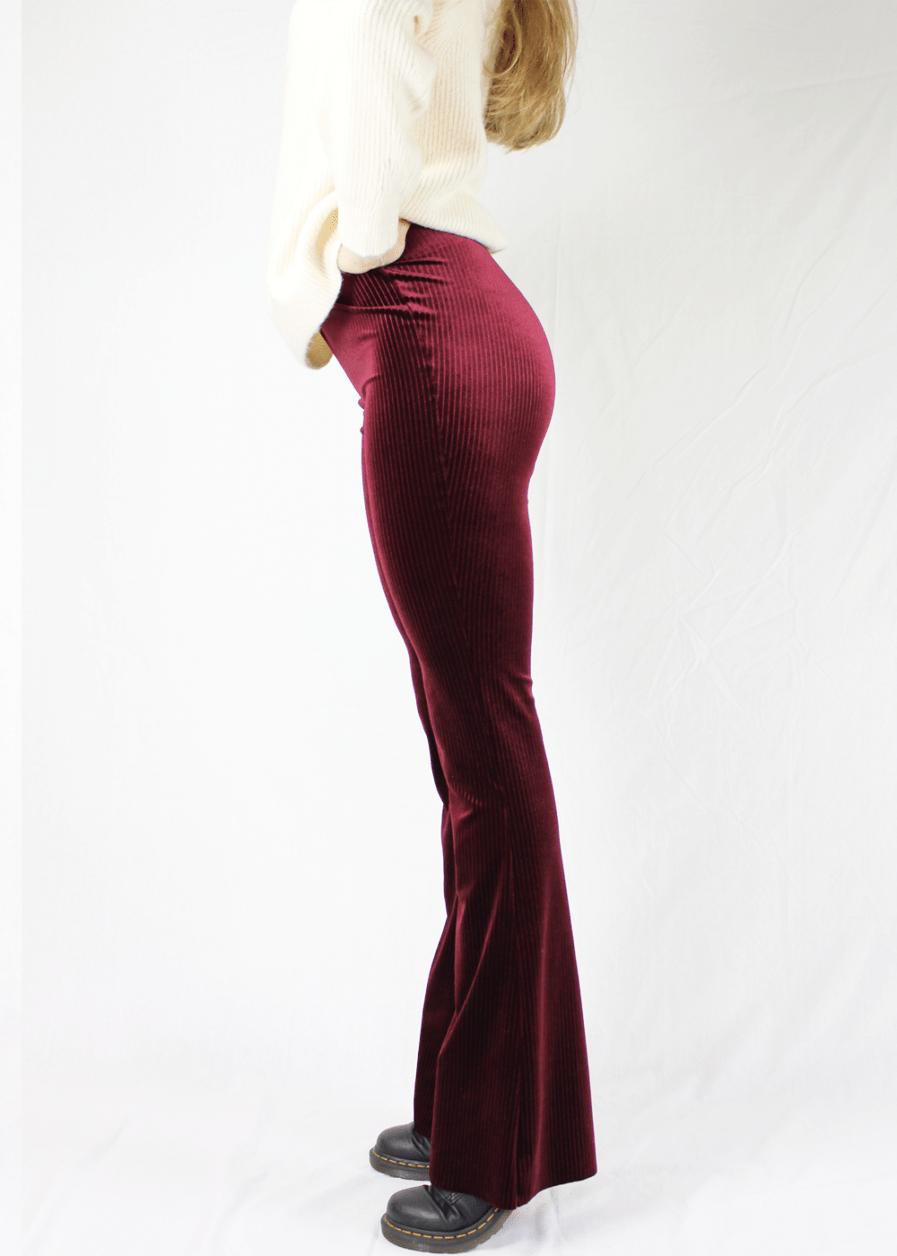 Velvet flared pants red rood gestreept – zijkant 3