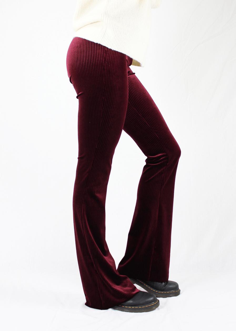 Velvet flared pants red rood – zijkant 2