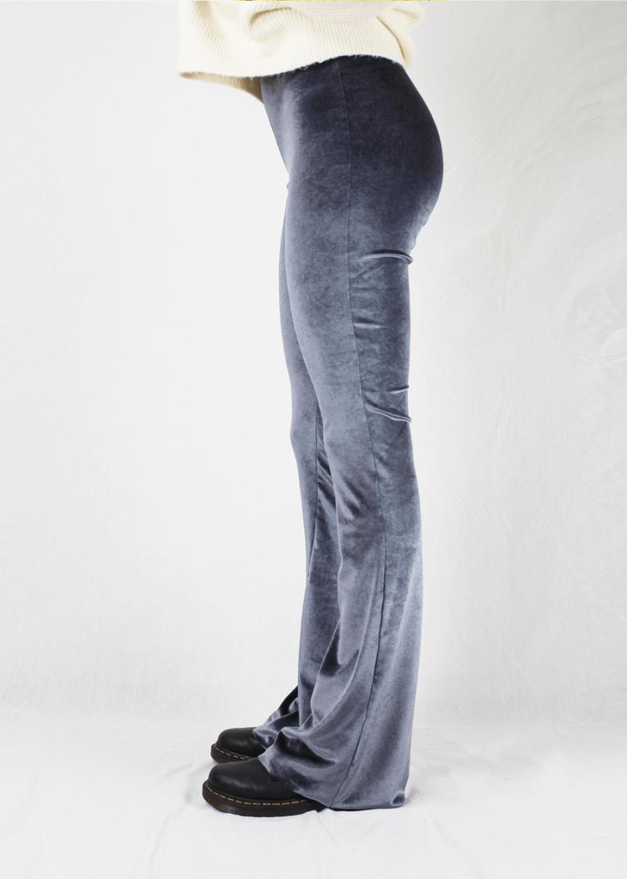 Velvet flared pants zilver silver - zijkant