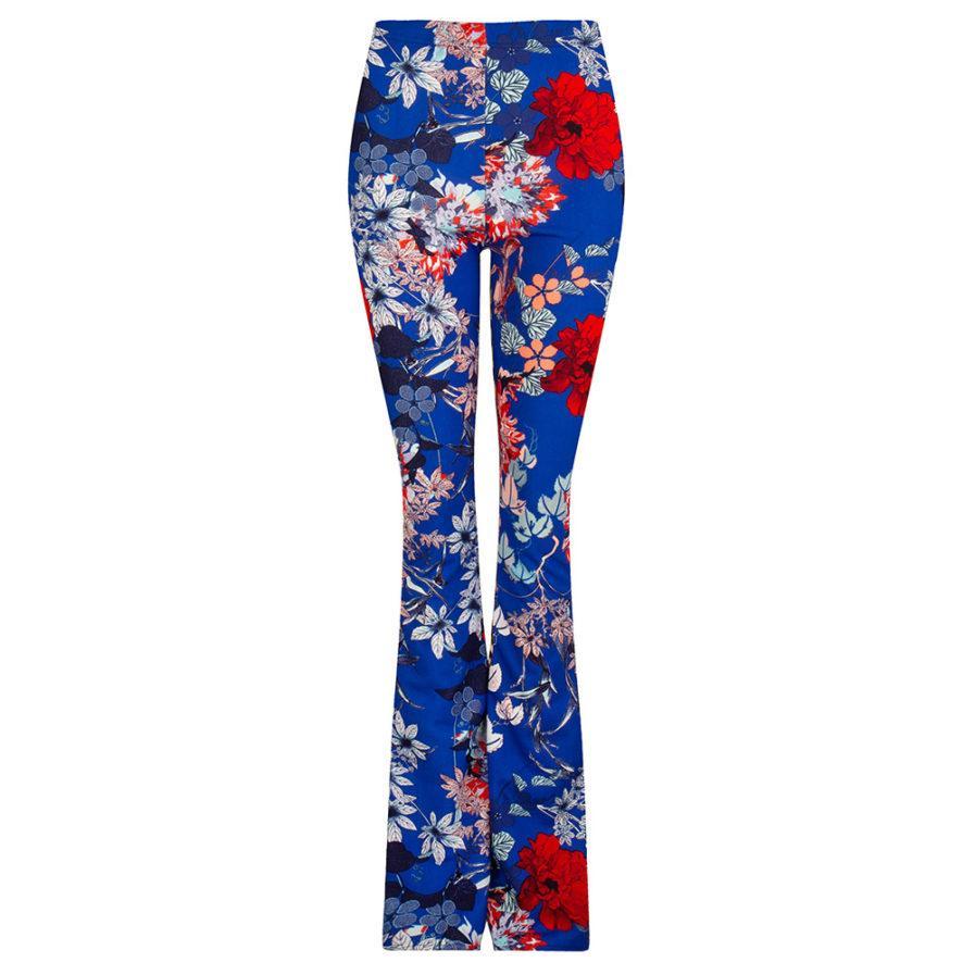 Flared pants met bloemen - blauw