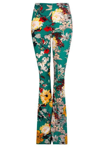 Flared pants met bloemen - groen