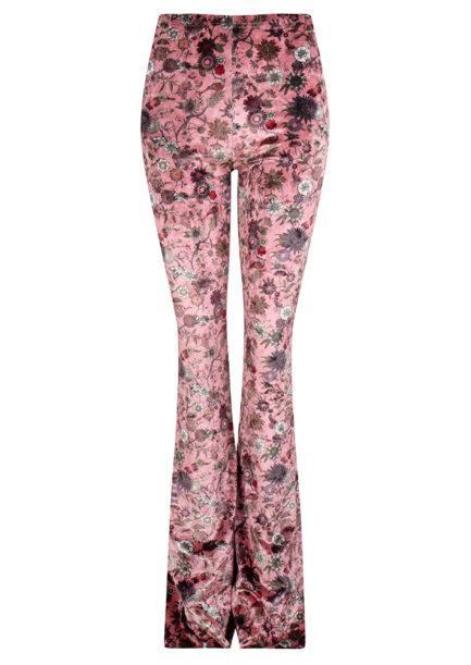 Velvet flared pants met bloemen roze