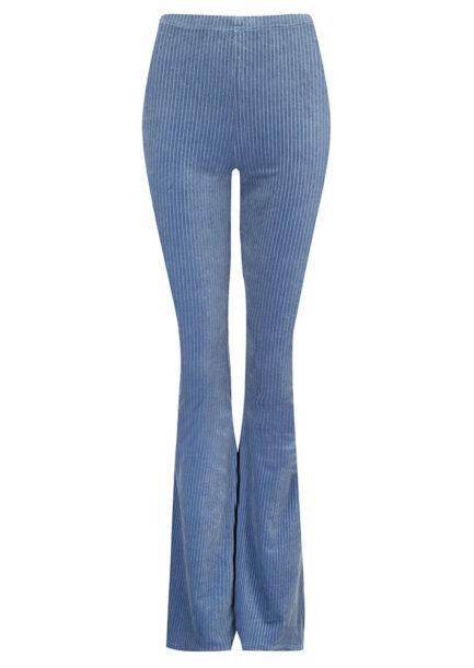 Velvet flared pants lichtblauw gestreept