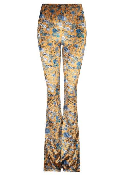 Velvet flared pants met bloemen - goud - voorkant