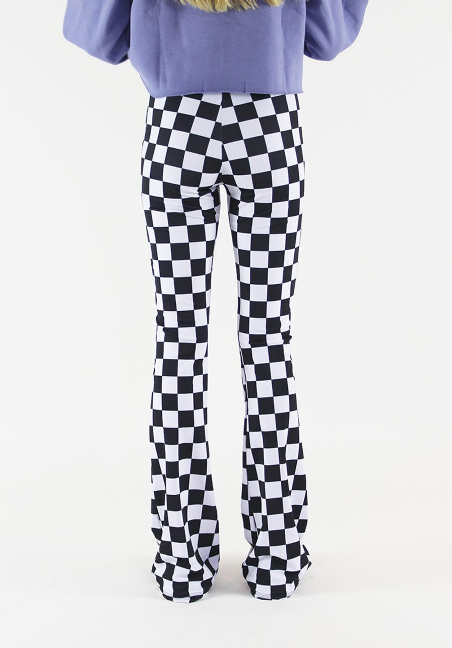 Flared pants zwart wit geblokt - achterkant