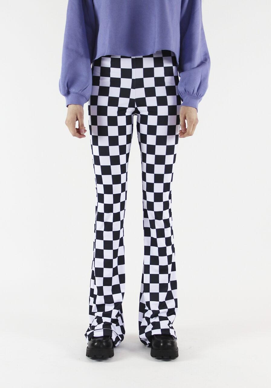 Flared pants zwart wit geblokt - voorkant