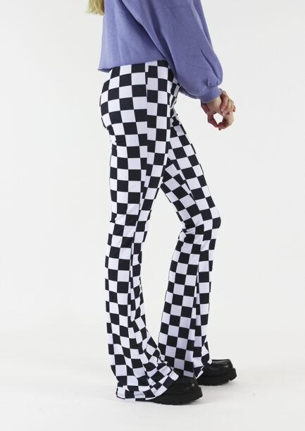 Flared pants zwart wit geblokt - zijkant