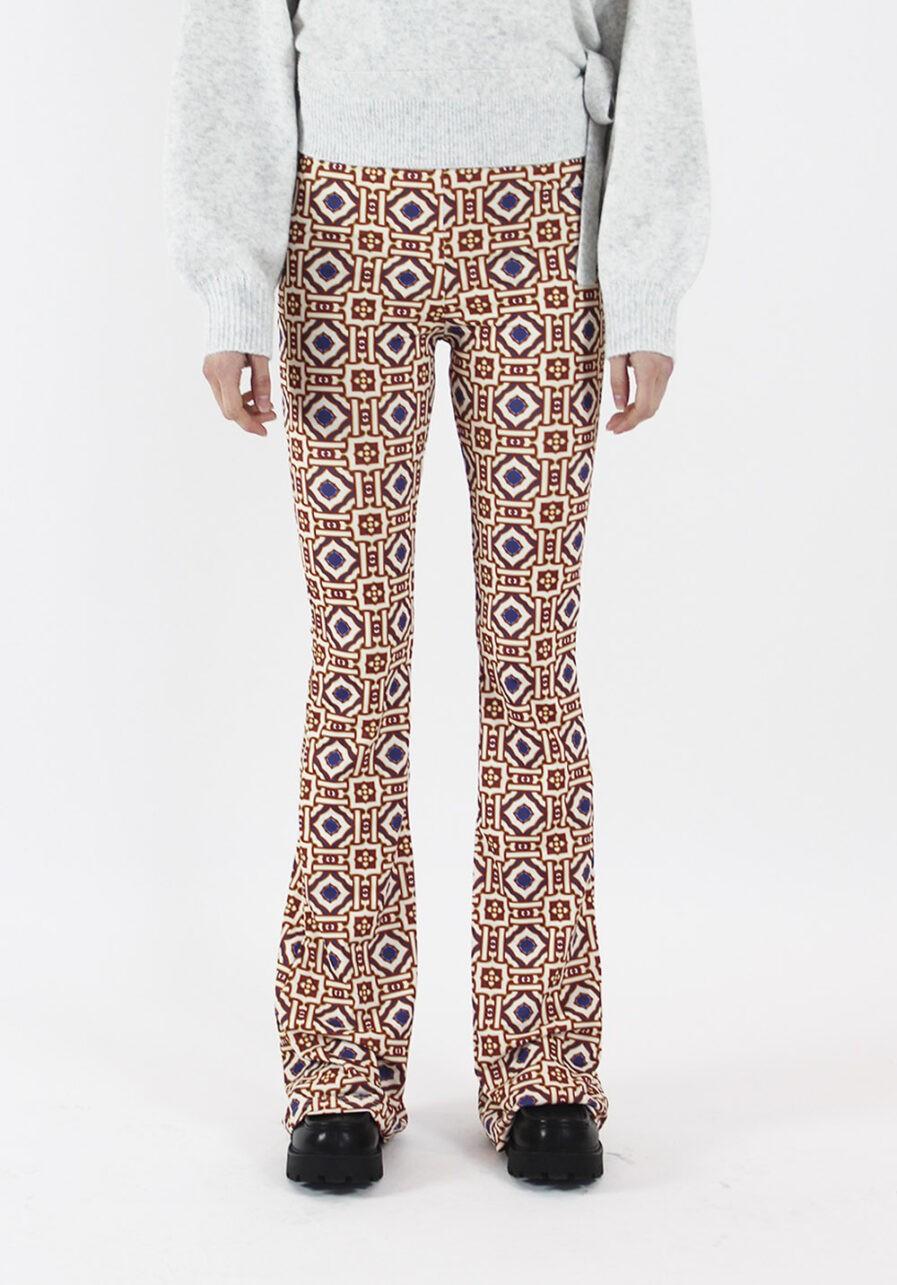 Printed flared pants - Afrikaanse print - voorkant