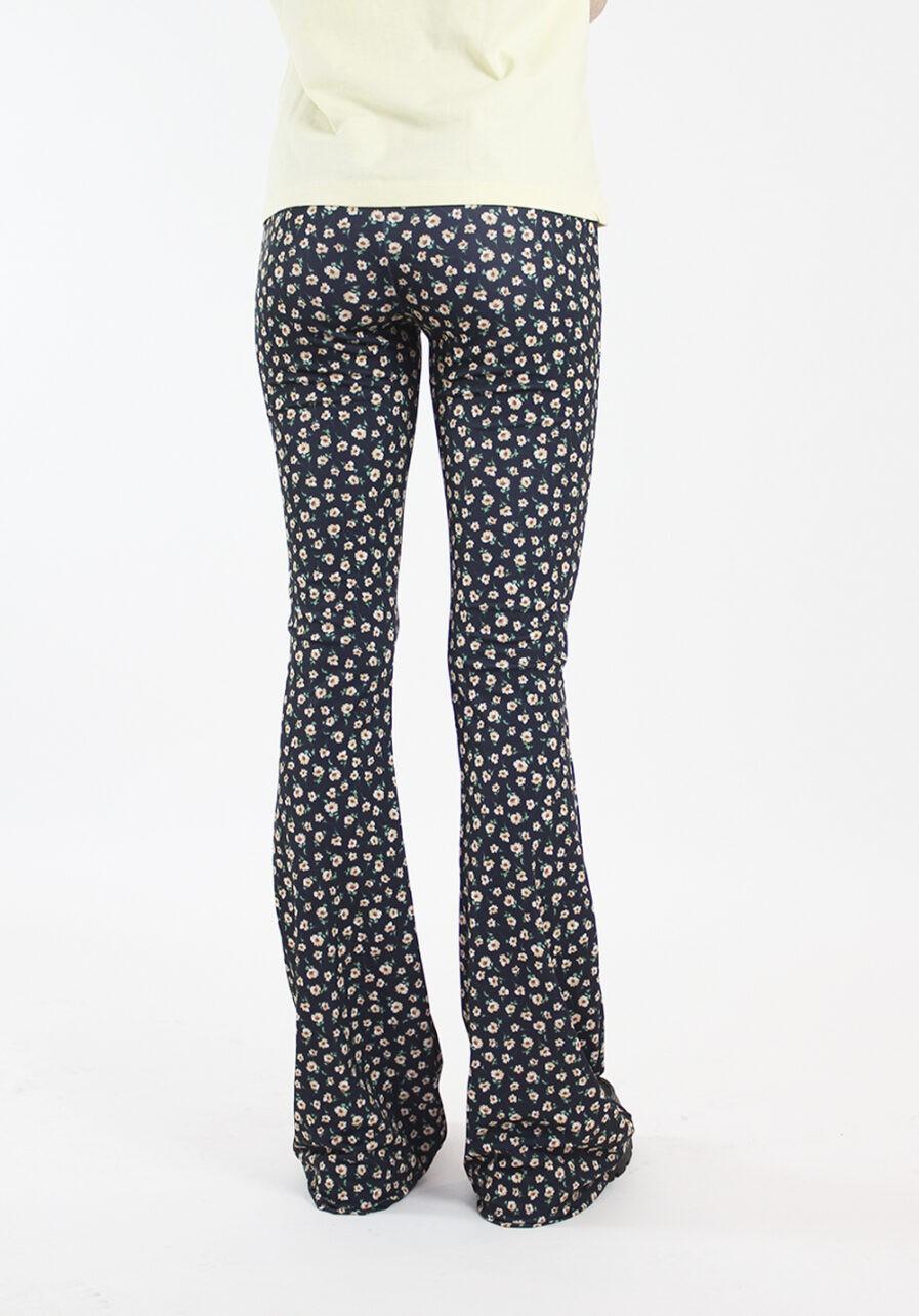 Flared pants - zwart met bloemen print - achterkant 1